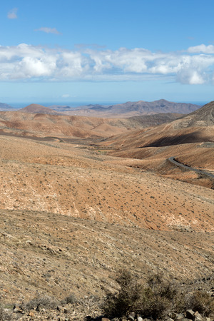 ochre: Beautiful volcanic mountains on  Fuerteventura. Canary Islands. Stock Photo