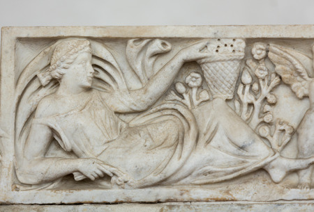 funerary: Ancient sarcophagus in the baths of Diocletian in Rome. Italy Editorial