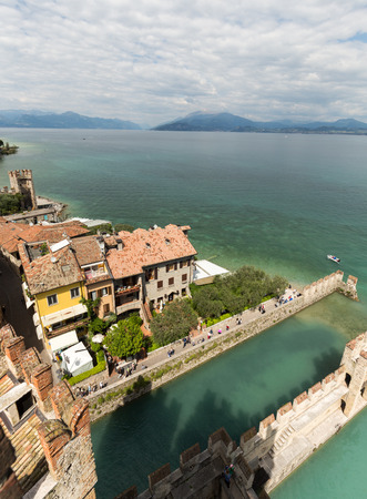 backwater: Backwater inside the Scaliger Castle - medieval port fortress, Sirmione, Italy