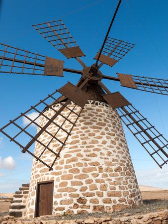 Round stone windmill near Tefia on Fuerteventura, Canary Islands, Spain Stock Photo
