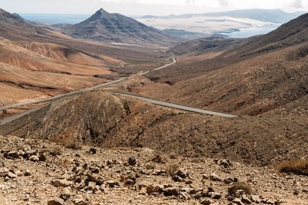 fuerteventura: Beautiful volcanic mountains on  Fuerteventura. Canary Islands. Stock Photo
