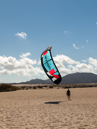 beaches of spain: Kite surfer in the beaches of Fuerteventura, Spain