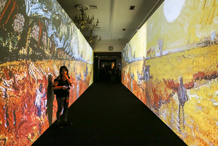 The exhibition Van Gogh Alive – The Experience at The Old Train Station in Krakow. Poland