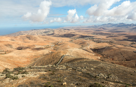 Volcanic Lanscape. Panoramic view  on  Fuerteventura from Mirador Morro Velosa, Fuerteventura, Canary Island, Spain