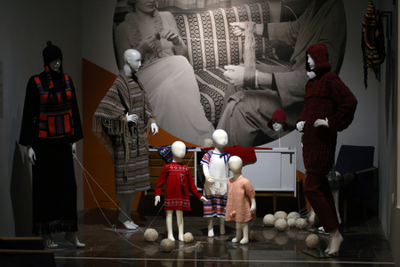 postwar: CRACOW, POLAND - JANUARY 24, 2016: Exhibition titled Fashionable in Communist Poland which reflects the unique character of fashion in the post-war decades. National Museum, Cracow, Poland Editorial