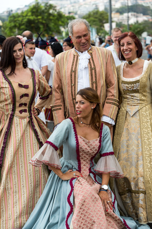 ethnographic: FUNCHAL, MADEIRA, PORTUGAL - SEPTEMBER 4, 2016: Madeira Wine Festival - Historical and Ethnographic parade in Funchal on Madeira. Portugal