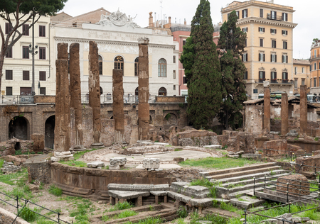 Archaeological area of Largo di Torre Argentina in Rome, Italy