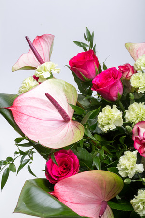 feel affection: beautiful bouquet from fresh red roses and  anthurium