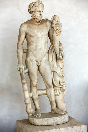 Ancient statue of man in  baths of Diocletian (Thermae Diocletiani) in Rome. Italy