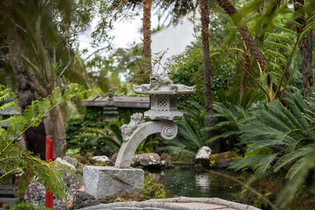 Monte Tropical Gardens With Red Japanese Style Pavilions, Funchal ...