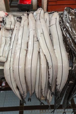 scheide: Fish on market, black scabbard (espada) in fish market