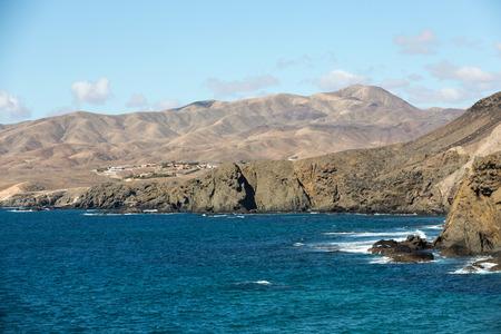 Rock coast near La Pared village on the south western part of Fuerteventura . Canary Islands, Spain
