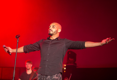 ballad: CRACOW, POLAND - NOV EMBER 6, 2016:  Symphonica 2 Made in Poland  The music of cult, of underground, rock, metal- and punk Polish groups from years 80-these performed  by musicians and soloists Filharmonia Futura on stage cinemas Kiev in Cracow. Op Damia