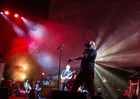 ballad: CRACOW, POLAND - NOV EMBER 6, 2016: Symphonica 2 Made in Poland  The music of cult, of underground, rock, metal- and punk Polish groups from years 80-these performed  by musicians and soloists Filharmonia Futura on stage cinemas Kiev in Cracow. Op Damian
