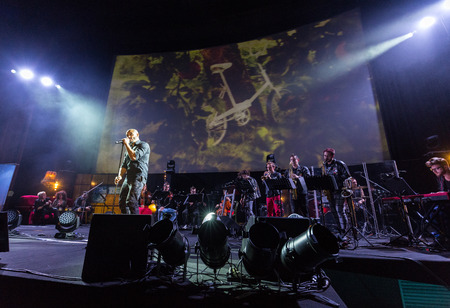 ballad: CRACOW, POLAND - NOV EMBER 6, 2016: Symphonica 2 Made in Poland  The music of cult, of underground, rock, metal- and punk Polish groups from years 80-these performed  by musicians and soloists Filharmonia Futura on stage cinemas Kiev in Cracow. Editorial