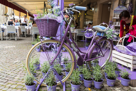 show window: SIRMIONE, ITALY - MAY 5, 2016: Sirmione, Italy. Show-window the  shop of perfumery and spirits from a lavender. Italy takes the second place in the world on production of oil of a lavender