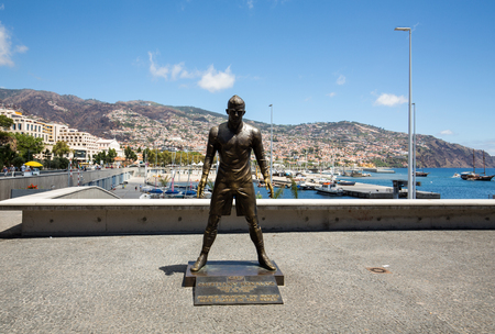 The statue Christiano Ronaldo before the entry to the Museum CR 7 in Funchal on Madeira. Portugal