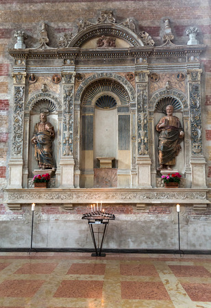 The tomb of Jacopo da Carrara by venetian sculptor Andriolo de Santi (14. cent.) in the church of The Eremitani . Padua, Italy