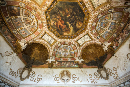 MANTUA, ITALY - MAY 2, 2016:  Palazzo Te in Mantua is a major tourist attraction. The ceiling frescoes are the most remarkable feature if the palace, built in the mannerist architectural style 1524-1534 for Federico II Gonzaga, Marquess of Mantua. Italy Editorial