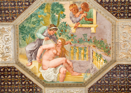 te: MANTUA, ITALY - MAY 2, 2016: The ceiling frescoes of Palazzo Te in Mantua. The palace was built 1524-1534 in the mannerist architectural style for Federico II Gonzaga, Marquess of Mantua. Italy