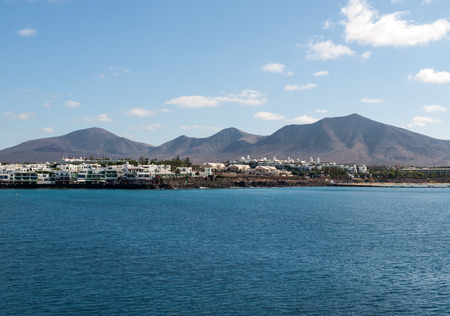 furled: Playa Blanca on Lanzarote. Canary Island .Spain Stock Photo