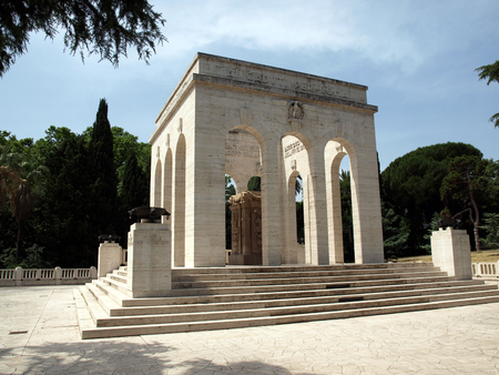 the Mausoleo Ossario Garibaldino  on the Janiculum Hill in Rome, dedicated to the fallen for Rome between 1849 (II Roman Republic) and 1870