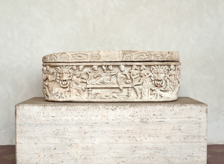Ancient sarcophagus in the baths of Diocletian in Rome. Italy Stock Photo