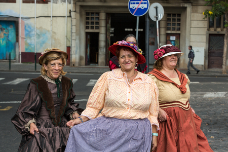 solemnize: FUNCHAL, MADEIRA, PORTUGAL - SEPTEMBER 4, 2016: Madeira Wine Festival - Historical and Ethnographic parade in Funchal on Madeira. Portugal