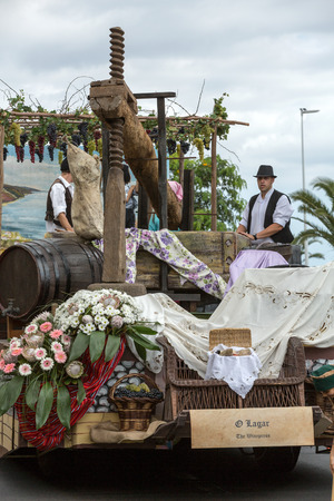 FUNCHAL, MADEIRA, PORTUGAL - SEPTEMBER 4, 2016: Madeira Wine Festival - Historical and Ethnographic parade in Funchal on Madeira. Portugal