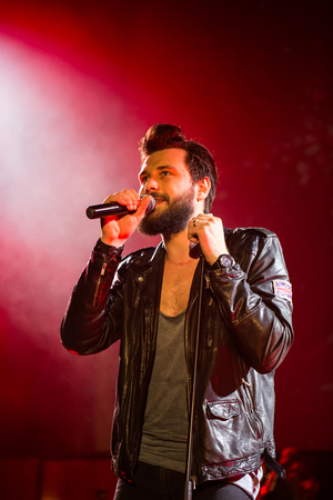 ballad: CRACOW, POLAND - NOV EMBER 6, 2016: Symphonica 2 Made in Poland  The music of cult, of underground, rock, metal- and punk Polish groups from years 80-these performed  by musicians and soloists Filharmonia Futura on stage cinemas Kiev in Cracow. Op E. Sta