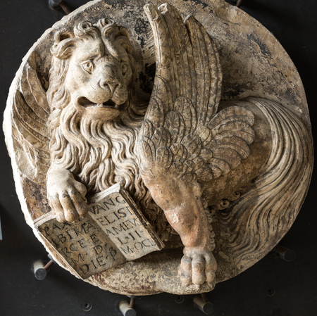 hermits: Venetian Lion in Civic Museum of the Hermits.  Padua, Italy Editorial