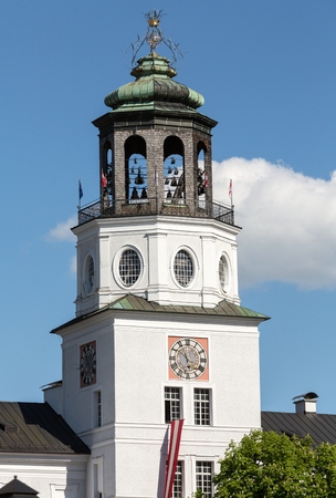 residenz: The Neue Residenz Clock Tower in Salzburg . Austria Stock Photo