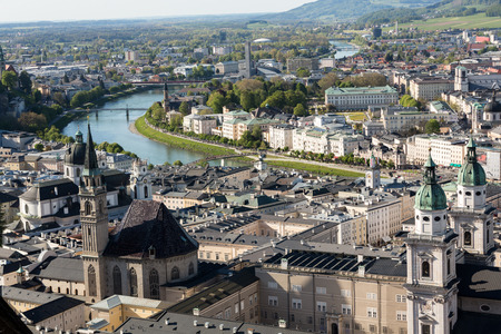 salzach: Top view of the Salzach river and the old city in center of Salzburg, Austria, from the walls of the fortress  Festung Hohensalzburg
