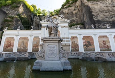 The bath for horses in Salzburg was constructed by the famous Baroque architect Johann Bernhard Fischer von Erlach.Salzburg, Austria Stock Photo