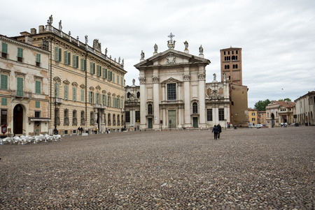 Cathedral and Palazzo Bianchi on Sordello square in Mantua, Italy. Editorial