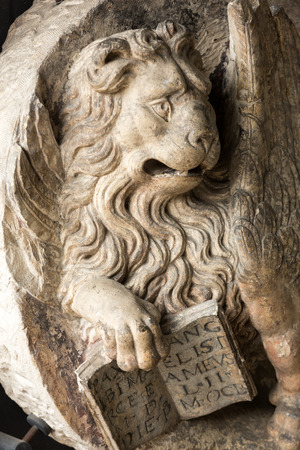hermits: Venetian Lion with open book in Civic Museum of the Hermits.  Padua, Italy