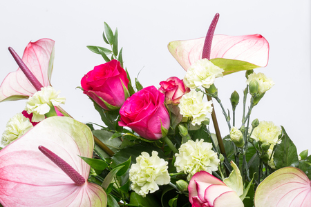 beautiful bouquet from fresh red roses and  anthurium