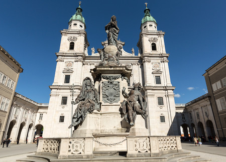 wolfgang: Cathedral of Saints Rupert and Vergilius and Marian column in Domplatz. Salzburg,  Austria Editorial