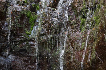 Last waterfall of the Twenty-five Fountains Levada hiking trail, Madeira Portugal