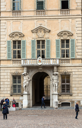 telamon: Statue of Hercules at the entrance to the 18th century Palazzo Vescovile (Bishops Palace) in the historical center of Mantua, Italy Editorial