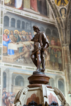 Statue of John Baptist in Baptistery of Duomo or The Cathedral of Santa Maria Assunta by Giusto de Menabuoi (1375-1376). Editorial