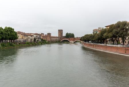 ponte: Adige River and Ponte Pietra in Verona . Italy Stock Photo