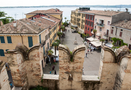 sirmione: View of Piazza Castello  from the Scaliger Castle in Sirmione, Lake Garda, Italy