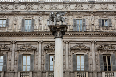 iconography: The Lion of Saint Marks symbolizes the citys close ties with Venice. Verona - Piazza delle Erbe. Italy