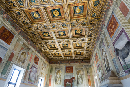 te: MANTUA, ITALY - MAY 2, 2016:  Palazzo Te in Mantua is a major tourist attraction. The ceiling frescoes are the most remarkable feature if the palace, built in the mannerist architectural style 1524-1534 for Federico II Gonzaga, Marquess of Mantua. Italy Editorial