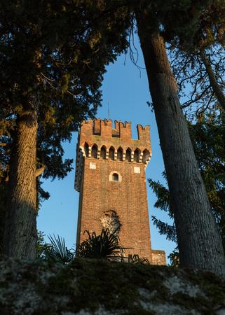 crenellated: Scaligeri Castle  in Lazise at Lake Garda, Italy Editorial
