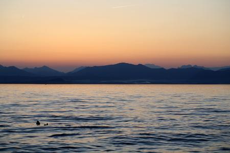 torri: Beautiful sunset at Garda lake in Italy Stock Photo