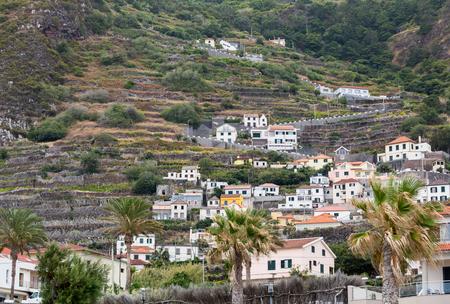 agricultura: Fields and houses along west coast near Porto Moniz on Madeira Island. Portugal