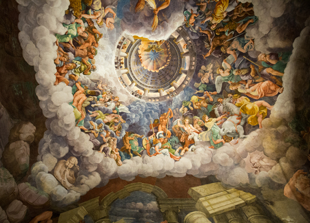 invents: MANTUA, ITALY - MAY 2, 2016:  Palazzo Te in Mantua is a major tourist attraction. Mannerisms  fresco: Giulio Romanos illusionism invents a dome overhead and dissolves the rooms architecture in the Fall of the Giants.