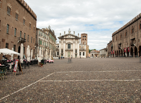 MANTUA, ITALY - MAY 2, 2016: Cathedral and Palazzo Bianchi on Sordello square in Mantua, Italy.
